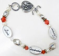 "RARE VINTAGE ""LOVE GRANDMOTHER FOREVER"" BRACELET FAUX PEARLS RHINESTONES & HEART"