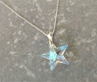 925 Sterling Silver Star Necklace Ice Blue AB Swarovski Elements Crystal Pendant