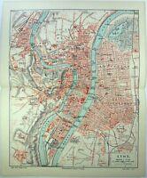 Lyon, France - Original 1906 City Map by Meyers. Antique