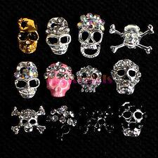 12x Alloy Crystal Skulls Skeleton Acrylic UV Gel 3D Nail Art Decoration + Wheel
