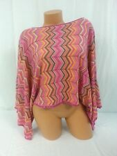 NWT Women's Sigrid Olsen Moroccan Gala Embellished Open Batwing Striped Blouse
