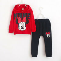 2Pcs Kids Girls Outfit Minnie Hooded Pullover Tops + Pants Jogger Tracksuit Set