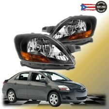 Fits 2007 2012 For Toyota Yaris Sedan Black Headlights Lamps Pair Replacement