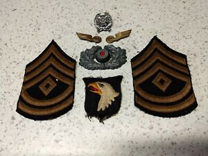 WWII 101st Airborne First Sergeant / German souvenir patch & pin lot