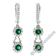 New 14K White Gold .89ctw Round Emerald & Diamond Dual Halo Drop Dangle Earrings