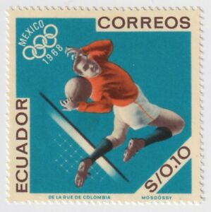 1967 Ecuador - Airmail - Football, Olympic Games, Mexico - 0.10 S Stamp