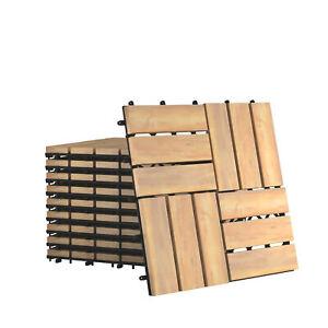"10PCS 12"" x 12"" Acacia Wood Deck Tiles Interlocking Patio Pavers Check Pattern"