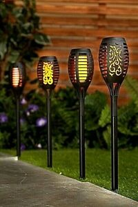 Solarize 4 PK Waterproof Solar Garden Flame Light Flickering SMD LED Torch Lamp