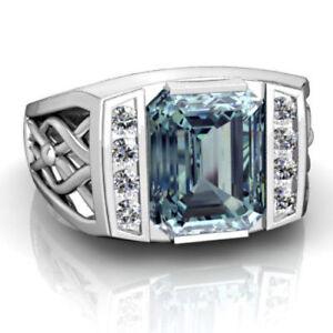 925 Sterling Silver Natural Aquamarine & white topaz Gemstone Men's Ring