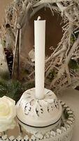 Kerzenhalter Kerzenständer Kugelhupf Weiß  Christmas Shabby Vintage Landhaus 12c
