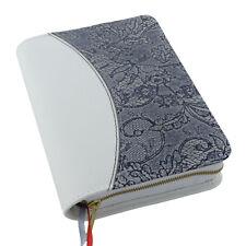 Gotteslob Hülle echt Leder weiß-schwarz Muster für das NEUE Gebetbuch Buchhülle