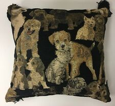 Borgata Throw Pillow Dogs & Cats Kitten Tapestry Black Tassel Gold Label 16 x 16