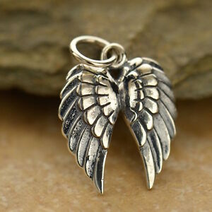 Steampunk Angel Pendant Necklace 925 Sterling Silver Charm Double Wing Goth 1128