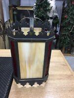 VINTAGE REPRODUCTION GOTHIC CARMEL SLAG GLASS LIGHT SHADE STUNNING