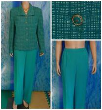 St. John Collection Knits Teal Green Jacket Pants L 12 14 2pc Suit Buttons