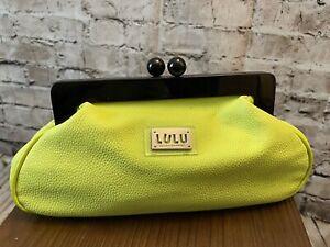 LULU BY LULU GUINNESS NEON Green Vegan leather CLUTCH