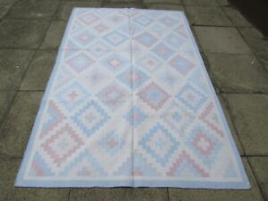 Old Traditional Hand Made Indian Dari Oriental Blue Pink Cotton Kilim 240x150cm