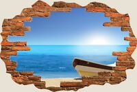 3D Hole in Wall Exotic Beach View Wall Sticker Film Mural Art Decal Wallpaper 89