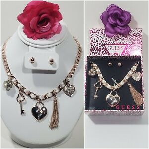 NEW in Box GUESS Charm HEART Rose Gold Plated Choker Necklace Earring GIFT SET