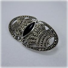 Sterling Silver Onyx and Marcasite Brooch