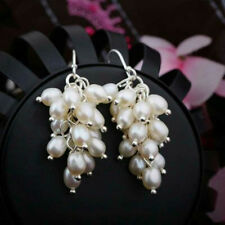 925 Silver Hook Dangle Earrings Fashion Women's Natural White Freshwater Pearl