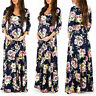 Maternity Dress Summer Floral Long Sleeve Maxi Dresses Casual Pregnant Clothes