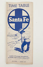 Santa Fe Railroad Railway Time Table Schedule Passenger Train Spring Summer 1962