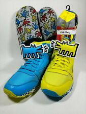 NEW Keith Haring Blue Yellow Dog Reebok Shoes Men 13 - BONUS Slippers & Socks
