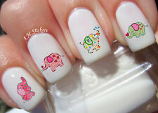 Cute Baby Elephant A1075 Nail Art Stickers Transfers Decals Set of 24