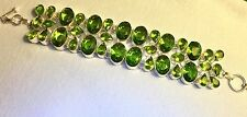 Hand crafted Burmese Peridot Bracelet in 925 Sterling