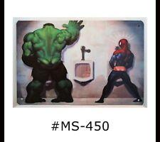 Tin Sign Man Cave Bathroom Superheroes Hulk Spiderman Metal Signs Plaques Decor
