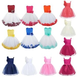 Flower Girls Wedding Dress Bridesmaid Party Pageant Princess Kids Toddler Gown