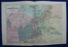 PLAN OF TUNBRIDGE WELLS, antique atlas map / city plan, George Bacon, 1895