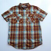 Prana Mens Sz S Small Plaid Short Sleeve Button Up Shirt Hike Camp Fish Outdoor