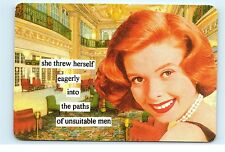 Anne Taintor She threw herself eagerly into unsuitable men Vintage Postcard A50