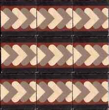 9 FLOOR TILES APROX 1 SQ. FOOT ANTIQUE  ESCOFET SPAIN ideal fireplace hearth