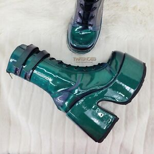 Camel 250 Stacked Purple Green Patent Platform Goth Punk Calf Boots 7 NY