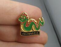 Vintage Kelowna British Columbia DRAGON pin button pinback Rare Man Tough *ff2