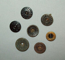 Antique Vtg 1910s Grp 7 Brass Metal Button Workwear Clothing Denim Jacket Shirt