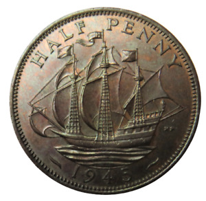 1945 King George VI Halfpenny Coin - Great Britain -