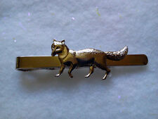 HUNTERS THEME TIE BAR SILVER TONE FOX-MADE IN CZECH