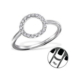 TJS 925 Sterling Silver Midi Ring Circle Clear CZ US Size 3.5 Body Jewellery