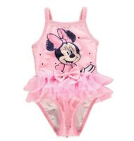 DISNEY BABY GIRL PINK BOW MINNIE MOUSE SWIMSUIT SWIMMING COSTUME