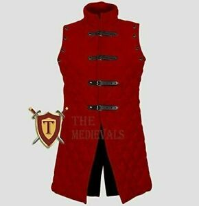 Medieval Cotton Red Color thick padded Gambeson SCA