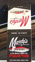 Rare Vintage Matchbook Cover E1 St Augustine Florida Marty's Restaurant Oldest