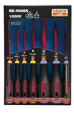 Bahco BE-9888S VDE Electricians Slotted and Pozi Drive Screwdriver Set 7 Pcs
