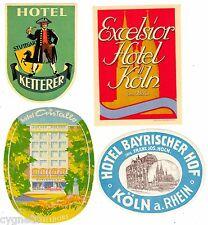 LUGGAGE LABELS GROUP OF 4 GERMAN HOTELS STUTTGART COLOGNE DUSSELDORF