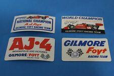 4 VINTAGE NOS DIFFERENT AJ FOYT GILMORE RACING TEAM STICKERS DECALS INDY 500.
