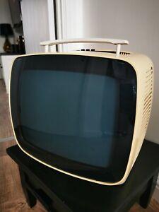 INDESIT Black & White Portable Television 12LGB retro VTG prop space age 1970