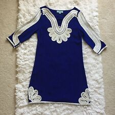 Camilla Tree Tunic Dress Blue with White Embroidery Medium 3/4th Sleeve NWOT